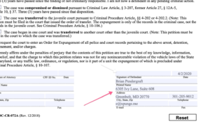 Maryland Expungement Form Part 4